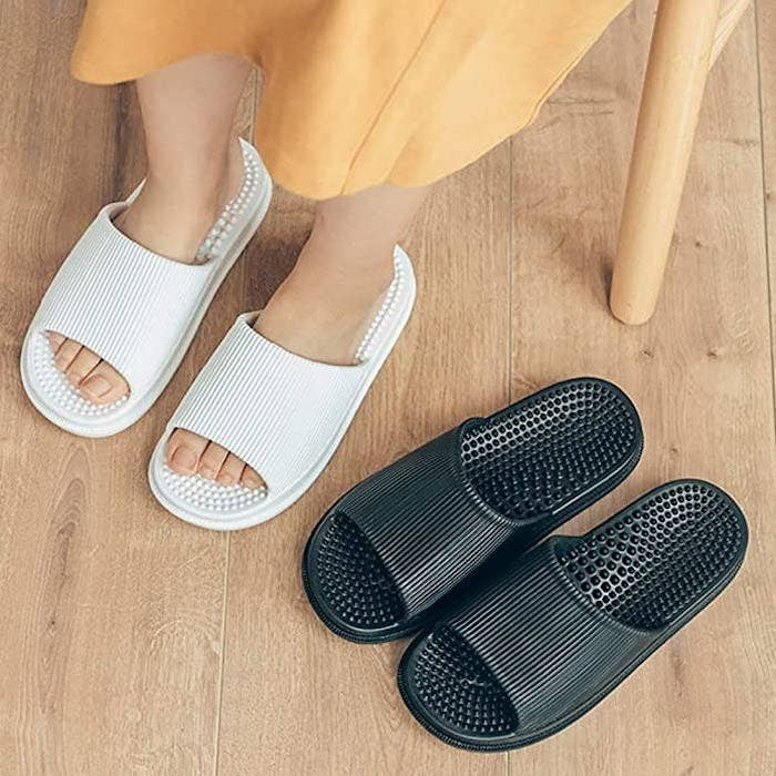 Wearing slippers at home